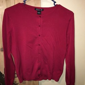 Red August Silk button up cardigan